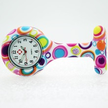 100pcs/lot free shipping white face fashion prints round nurse watch doctor silicon Colourful Professional Useful Medical Watch(China)