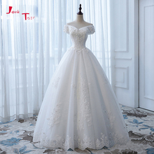 Buy Jark Tozr V-neck Short Sleeve Pearls Beaded Crystal Appliques Lace Ball Gown Wedding Dress Petticoat None Train 2018 for $196.78 in AliExpress store
