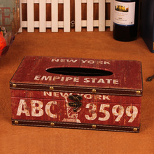 ABC3599 Graffiti printin European style Pumping cartons Woody waterproof napkin tissue box Multifunction Home Creative Paper box(China)
