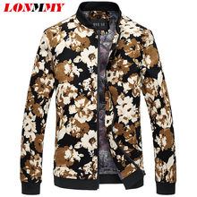 LONMMY 6XL Mens jackets and coats Flower print Stand collar Floral men jacket Brand clothing Fashion jacket men coat New 2017