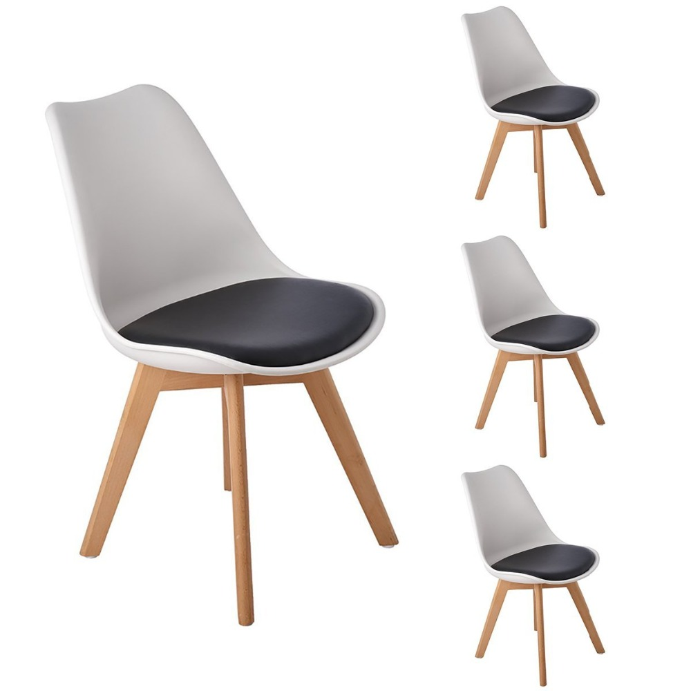 EGGREE Set of 4 Retro Design Living Room / Dining Chairs with Padded and Solid Wood Beech Legs, White&amp;Black<br>