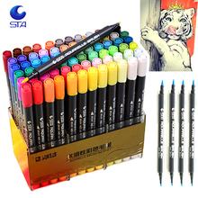 12/24/36/48/80 Water Colors Soft Double Headed Sketch Marker Water Brush Designers Marker Pen Colors Set Art Copic Marker