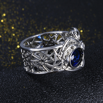 Spider Silver Sapphire Gemstones Punk Party Ring For Women