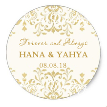 Personalized Gold Paper Sticker, Wedding Date and Name, Wedding Favors Lable, Candy Box Tags, Bottle Stickers gold birthday deco(China)