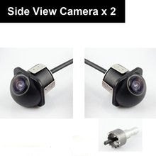 Pair Car Auto 20mm Hole Drilling Side View Camera Side Mirror Mount Reverse Mirrored Image with No Parking Stereo RCA -Pack of 2