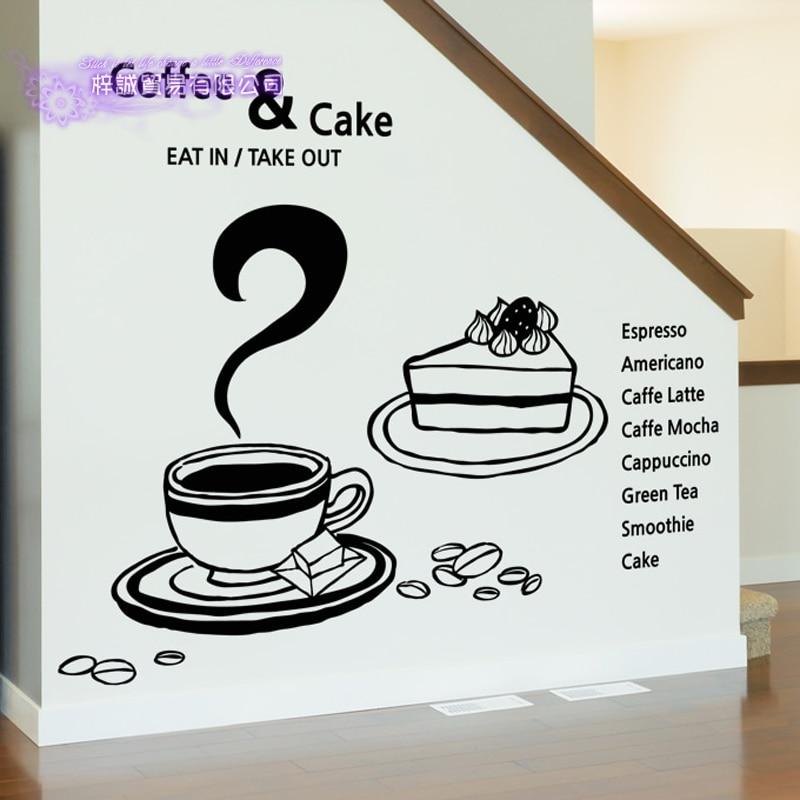 Coffee Sticker Sandwich Decal Cafe Poster Vinyl Art Wall Decals Pegatina Quadro Parede Decor Mural Coffee Sticker