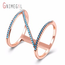 GNIMEGIL Brand Jewelry Women Fashion Blue Stone Turquoises Ring Z Shape Copper Rings Bridal Sets Ring two Round Classic Ring(China)
