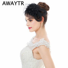 AWAYTR 2017 Women Black Red Feather Flower Hair Fascinator with Bow Ladies Hair Accessories Wedding Party Floral Headband(China)