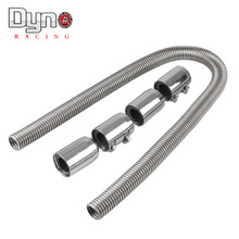"48"" Stainless Steel Radiator Flex Coolant Water Hose Kit With Caps/Radiator cover Universal"