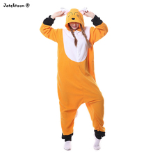 2017 New Adult Animal Sleepsuit Pajamas Costume Cosplay Orange Fox Onesie Fancy Dress Costume Hoodies Pyjamas Sleep Wear