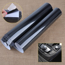 T0# 152 x 30cm High Glossy Black 5D Carbon Fiber Texture Car Auto Motorcycle Glossy Wrap Sticker Film Decal Roll DIY Decor(China)