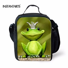 INSTANTARTS 3D Animal Frog Print Cool Lunch Bags for School Students Insulated Portable Children Foodbag Thermal Picnic Bag Tote