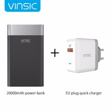 Vinsic Terminator P3 20000mAh Quick Charge 3.0 Power Bank QC3.0 2.4A Dual Output with Type C Port For iPhone 8 Samsung Xiaomi