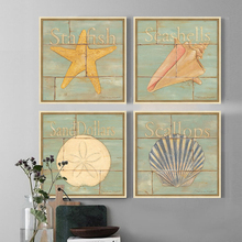 sea animal 4 piece canvas art Marine conch seashell starfish home decor for living room office picture cheap modern paintings