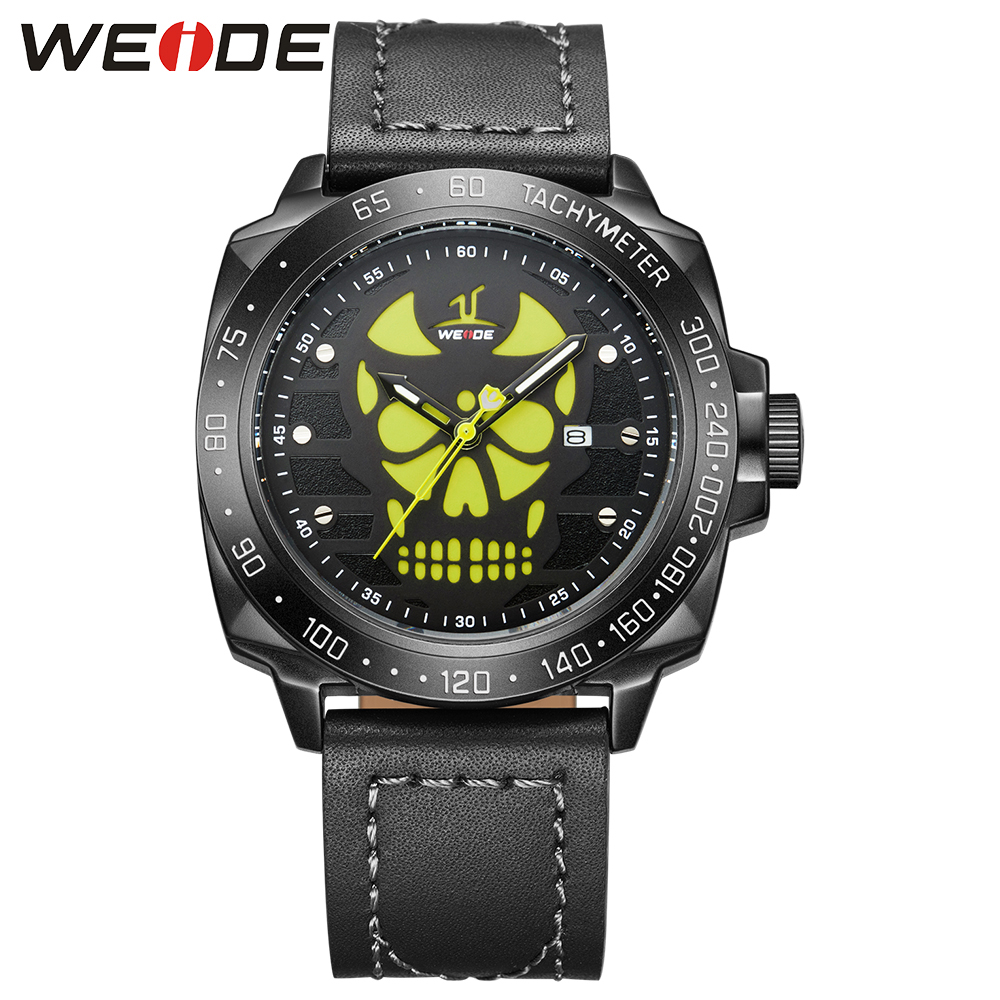 WEIDE Black Watch Men Casual Leather Strap Quartz Yellow Dial Analog Display Water Resistant Big Fashion High Quality Male Clock<br>