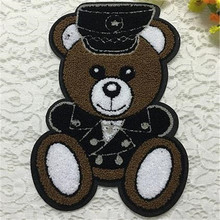 Embroidered iron on patches for clothes teddy bear biker patch deal with it clothing sticker DIY Motif Applique free shipping