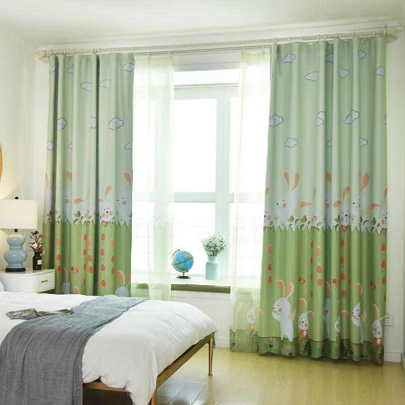 Cartoon Curtains For Nursery School Kids Curtain Rabbit Baby Curtains For Girls/Boys Room Green Pink  116&30