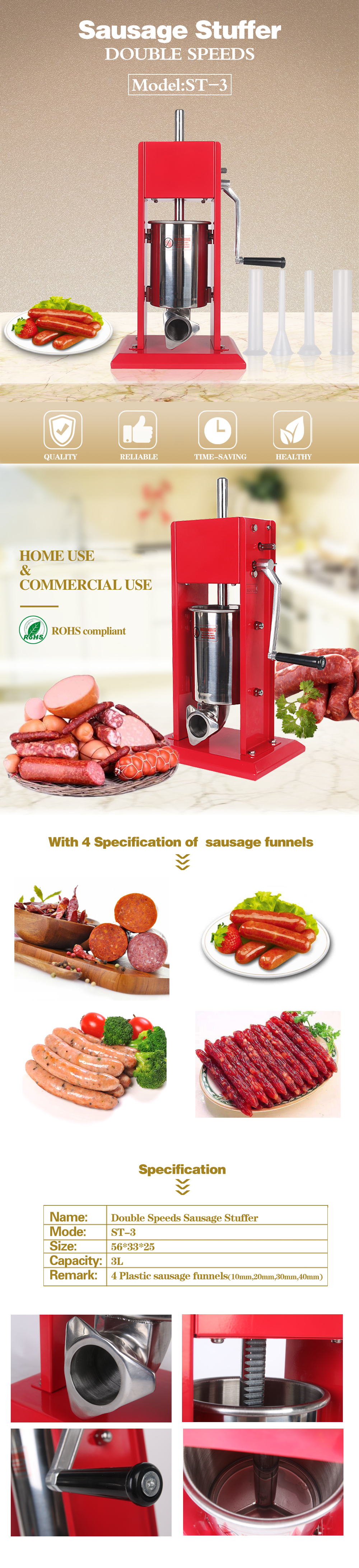 DOITOOL Manual Sausage Maker Sausage Stuffer Meat Filler Hand Operated Salami Maker With 3 Funnels