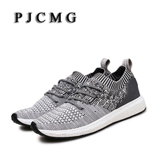 Men Shoes PJCMG Men Casual Shoes Summer Breathable Lace up Flats Fashion Light Male Footwear Big Size 35-44