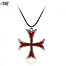 Assassin's Creed Templar Necklace The Knight Templar Leather Chain Figure Cosplay Fashion Mens Womens Jewelry The cross Pendant