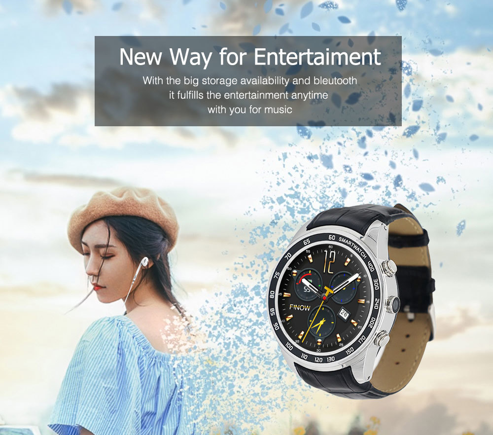 FINOW Q7 Plus 3G Smartwatch Phone 1.3 inch Android 5.1 MTK6580 1.3GHz Quad Core 8GB ROM 0.4MP Camera Pedometer GPS
