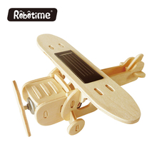 Robotime 3D Wooden Puzzle Solar Energy Kids Toy Plane Assembly Model Handmade Creative Decoration Monoplane P210(China)