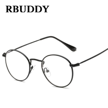 RBUDDY Eyeglasses Women Men Round Clear Lens Glasses Metal Black Frame Fake glasses Transparent Computer Fine Vintage Eyewear