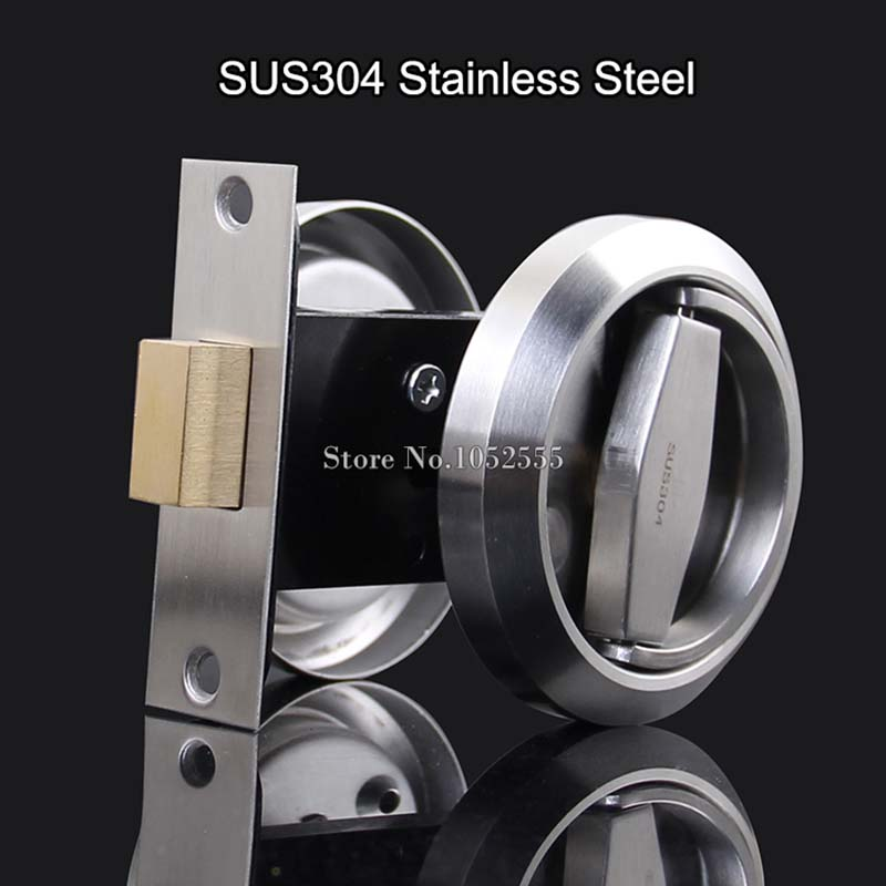High Quality 6Sets 304 Stainless Steel Cup Handle Recessed Door Lock Fire Proof Set Disk Ring Locks<br>