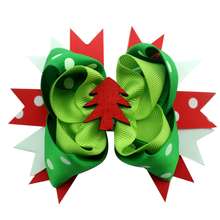 10PCS 5 inch Christmas festival Alligator Clip Grosgrain Ribbon Headbands Hair Bows Clips Best new year Gift hair accessories(China)