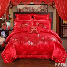4PCS Luxury Embroidery carton boy  Wedding bedding sets(duvet cover+flat cover/bedding sheet+pillowcase)king queen red