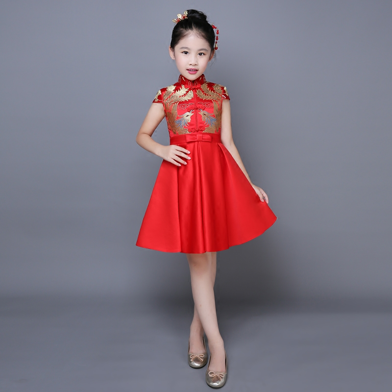 2017 autumn embrodiry girls dresses for wedding party chinese style qipao dress for girls teens red elegant ball dresses<br>