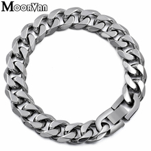 Moorvan Jewelry Men Bracelet Cuban links & chains Stainless Steel Bracelet for Bangle Male Accessory Wholesale B284(China)