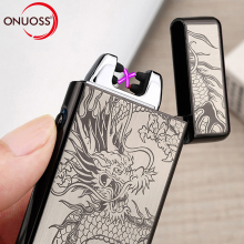 ONUOSS Newly Design Zinc Alloy Double Arc Lighter 12 Patterns On Sale Flameless Windproof Cigarette Lighters USB Weed 491V(China)