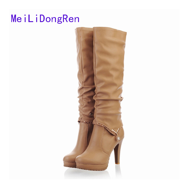 2017 Women Winter Boots Female High Heel Autumu Boots 2-way To wear High Boots Leg Knee High Boots Size 34~43<br>