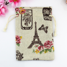 Wholesale 100pcs mini Drawstring Cotton Bag Gift Tea Sachet Storage Pouch Eiffel Tower Pattern Packing Bags 10*14cm(China)