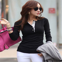 Korean Fashion T-Shirt Women Slim O-Neck Long Sleeve Solid Tops Casual Tee Shirt Candy Color Plus Size(China)