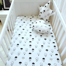 120x60cm or 130x70cm baby bed sheet 1pcs 6 styles cotton crib bed sheet with elastic at corner Cloud Cat Swan Bear design(China)