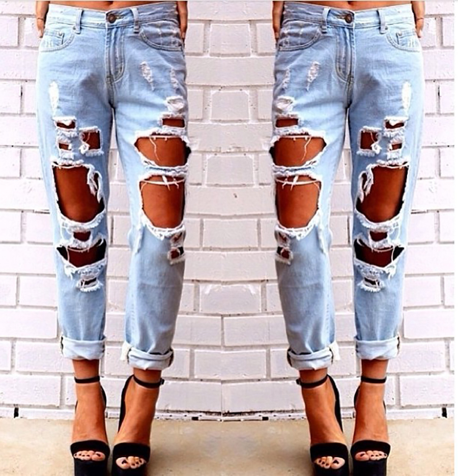 Female Mid Waist Jeans Woman Pants Sexy Ripped Jeans for Women American Apparel Trousers Femmes Beading and Holes Fashion JeanОдежда и ак�е��уары<br><br><br>Aliexpress