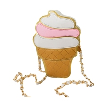 ASDS New Cute Cartoon Women Ice cream Cupcake Mini Bags PU Leather Small Chain Clutch Crossbody Girl Shoulder Messenger bag(China)