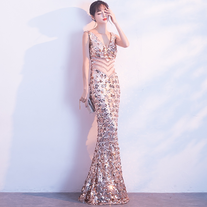 Women Fashion Stage Costume Clothes Formal Prom Party Trailing Dress Silver Sequins Singer Dancer Star Performance Dance Wear DJ