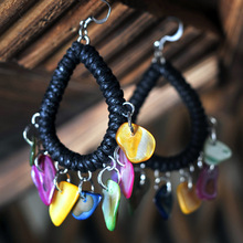 New Original  Ethnic jewelry  handmade colored shell dangle earrings National flavor weave knit lace earrings,