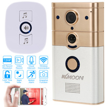 KKmoon 720P WiFi Visual Intercom Door Phone Wireless Doorbell Infrared Night View Rainproof Lock Time Delay PIR Motion Detection