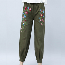 KYMAKUTU Women Linen Pants with Pockets All Match Pantalon Mujer Elegant Flower Embroidery Pant New Elastic Waist Lady Trousers