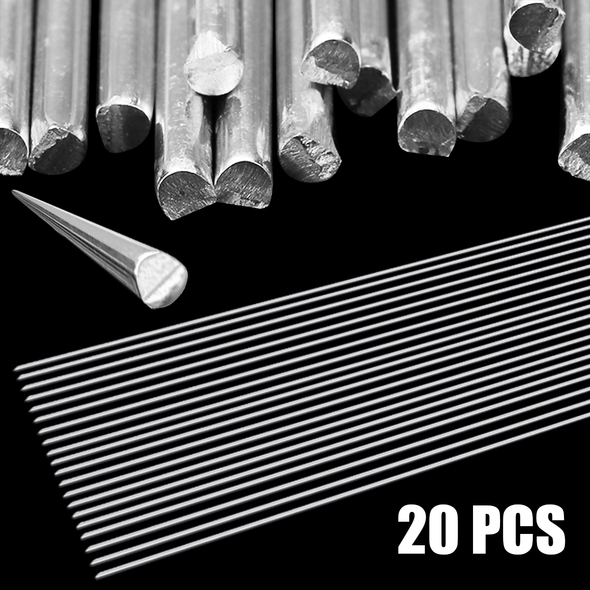 20pcs 2.0mm*500mm Silver Welding Brazing Rod Aluminum Welding Wire Soldering Rod Set for Industry