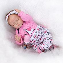 53cm Solid Silicone Reborn Sleeping Baby Doll 2Sets Clothes Baby Alive Silicone Reborn Dolls Awesome Real Touch Juguetes Bebes