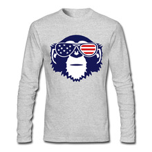 Monkey With American Flag Sunglasses Men T Shirts Fashion Fitness Long Sleeve Mens tshirt Camisetas Euro Size Man Tops Tee