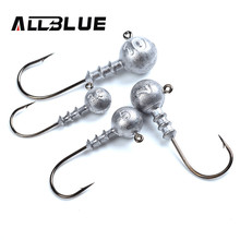 ALLBLUE Exposed Lead Jig Head 3.5g 5g 7g 10g Barbed Hook 10pcs/lot Soft Lure Jigging Hook Fishing Hooks(China)