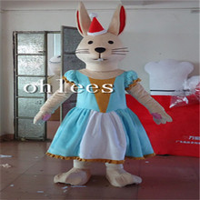 Ohlees wear dress rabbit femal bunny  Mascot Costume Halloween Christmas party Props Costumes For Adult cartoon animal customize