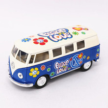 1:32 KINSMART Volkswagen Bus Car Toy Die cast & ABS VW Cars Model With Painting Doors Openable Van Kids Toys Juguets Graffiti