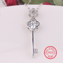 100% 925 Sterling Silver Necklaces Four Clover Key Pendants&Necklaces  Imitation Pearl Jewelry  for women/men +Pure Silver chain